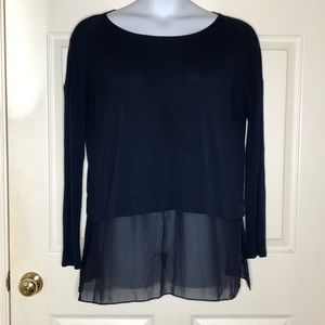Eileen Fisher Silk Tunic Top Navy Blue Med